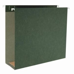 "Business Source Hanging File Folders, 1/5"" Tab, 3"" Exp, 25/Box, Green (BSN43852)"