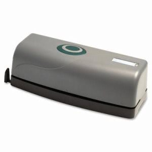 Business Source 3-Hole Punch, Antimicrobial, 15 Sheet Cap, Gray (BSN00630)