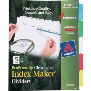 SKILCRAFT Index Maker Dividers, Multi-Colored, 5 Dividers (NSN4344198)