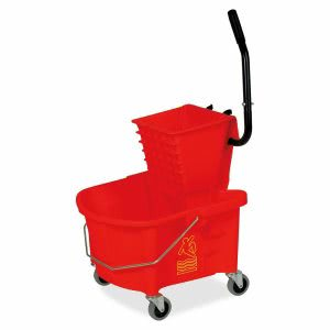 Genuine Joe Steel Handle Mop Bucket/Wringer Combo, 26 qt., Red, Each (GJO18800)