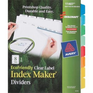 "SKILCRAFT Index Dividers,8 Tab, 8-1/2""x11"",Assorted, 1 Set (NSN6006970)"