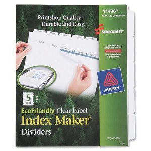 SKILCRAFT Index Divider Makers, 5-Tab, 20/ST, White (NSN6006981)