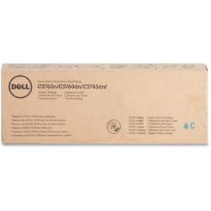 Dell Toner Cartridge, f/C3760/3765, 9000 Page Extra High Yld, CYN (DLL1M4KP)