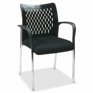 "Lorell Guest Chair, Ventilated Back, 26""x25""x39"", Black (LLR52122)"