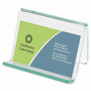 "Lorell Business Card Holder, 3-1/4""x3""x2-5/8"", Clear/Green (LLR80657)"