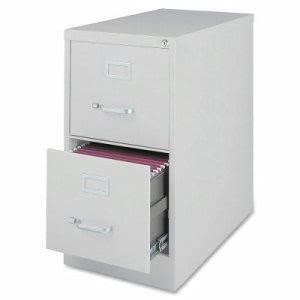 Lorell 2-Drawer Vertical File Cabinet, Letter, 15w x 28h, Light Gray (LLR88035)