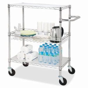 "Lorell 3-Tier Wire Rolling Cart, 30""x18""x40"", Chrome (LLR84858)"