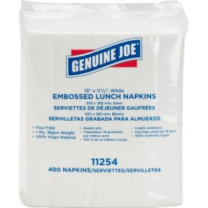 "Genuine Joe Napkins, 4-Fold, 1-Ply, 17""x15"",  2,400 Napkins, White (GJO11254)"
