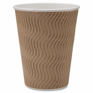 Genuine Joe Rippled Hot Cup, 12-oz., 25/PK, Brown (GJO11260PK)