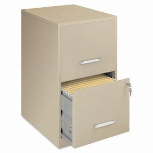 "Lorell Steel File Cabinet, 2-Drawer, 14-1/4""x18""x24-1/2"", Putty (LLR14340)"