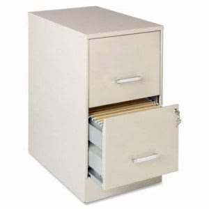 Lorell SOHO 2-Drawer Steel File Cabinet, 14-1/4w x 26-11/16h, Stone (LLR16870)