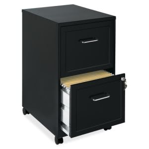"Lorell SOHO 2-Drawer Mobile File Cabinet, 18"", Black Steel (LLR16872)"