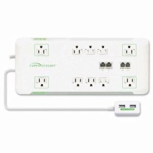 Compucessory Slim Surge Protector,10-Outlet, 3420J, 6' Cord,1800W, WE (CCS25134)