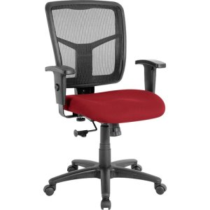 "Lorell Mid-Back Chair, 25-1/4""x23-1/2""x40-1/2"", Real Red (LLR8620902)"