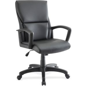 Lorell Euro Design Leather Exec. Mid-back Chair, Black (LLR84570)