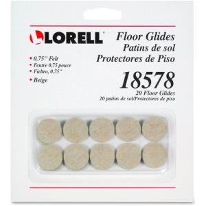 Lorell Self-Stick Round Felt Floor Glides, 20/Card (LLR18578)