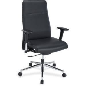 Lorell Leather Suspension Swivel Chair, Black, 1 Each (LLR34850)
