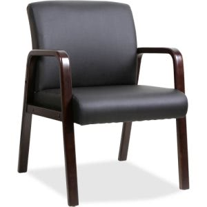 Lorell Black Leather Wood Frame Guest Chair, Espresso Frame, Each (LLR40201)