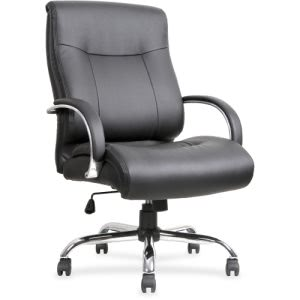 Lorell Leather Deluxe Big/Tall Chair, 22.9 x 30.3 x 46.9, Black (LLR40206)