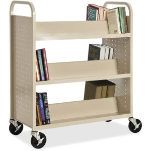 Lorell Double-Sided Metal Book Cart (LLR49202)
