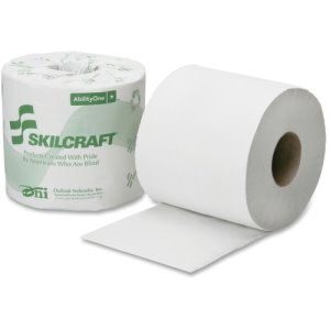 "SKILCRAFT PCT Toilet Tissue, 1-Ply, 4""x3-3/4"", 1000Shts, 96/CT, WE (NSN6308728)"