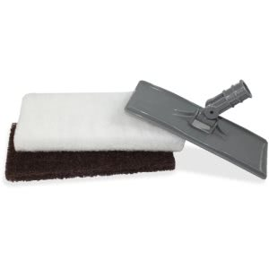 Genuine Joe Cleaning Pad Holder with 2 Pads, Gray, 1 Set (GJO20090)