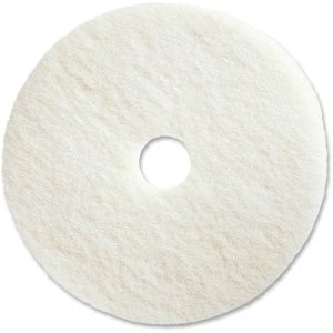 "Genuine Joe 19"" White Polishing Floor Pad, Synthetic Fiber, 5 Pads (GJO90519)"