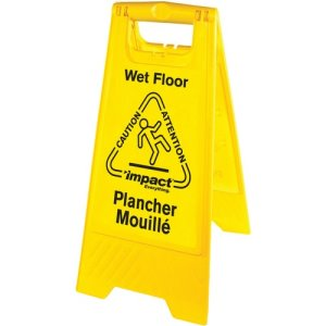 Impact English/Spanish Wet Floor Sign, Vinyl, Yellow/Black, Each (IMP91522W)