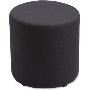 Lorell Fabric Cylinder Ottoman, Upholstered, Black, 1 Each (LLR35851)