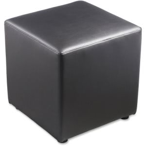 Lorell Leather Cube Chair Ottoman, Black, Leather, 1 Each (LLR35854)