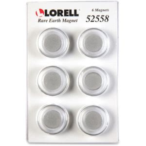 Lorell Round Cap Rare Earth Board Magnets, 6 Magnets (LLR52558)