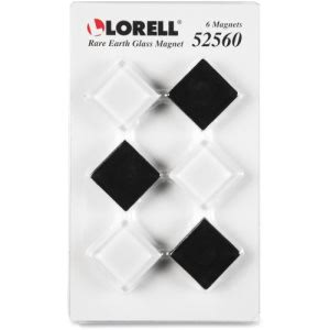 Lorell Square Glass Cap Rare Earth Magnets, 6 Magnets (LLR52560)