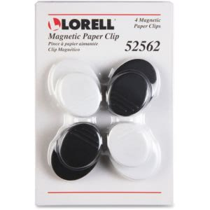 Lorell Plastic Cap Magnetic Paper Clips, Black/White, 4/Pack (LLR52562)