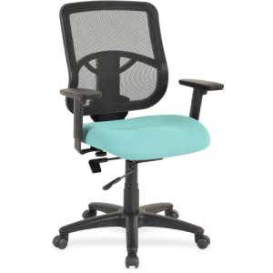 "Lorell Managerial Mid-back Chair, 25.3"" x 23.5"" x 40.5"", Black/Green (LLR59560)"