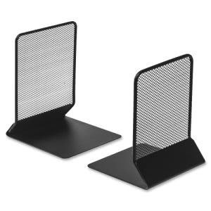"Lorell Metal Mesh Bookend, 5 3/8"" x 6 3/4"", Black, 2 Bookends   (LLR84242)"