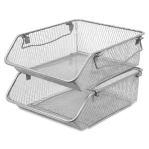 Lorell Mesh Stacking Storage Bin, Steel Mesh, 2 Bins (LLR84243)