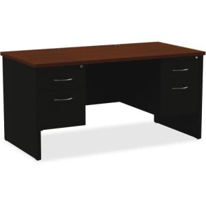 Lorell Walnut Laminate Comm. Steel Desk Series (LLR79141)