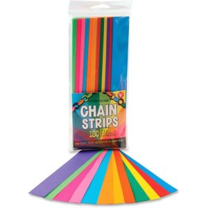 "Hygloss Chain Strips, 1""x8"", Assorted Colors, 180 Strips (HYX17011)"