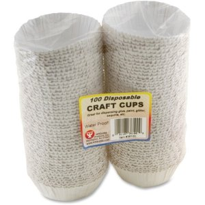 Hygloss Disposable Craft Cups, White, Water Resistant, 100 Cups (HYX36100)