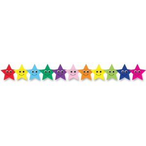 "Hygloss Happy Stars Border, 3'x36"", Multicolor, 12 Strips (HYX33655)"
