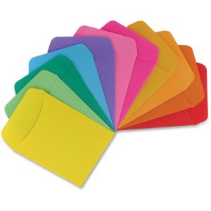 "Hygloss Library Pockets, 3-1/2""x5"", Assorted Colors, 30 Pockets (HYX15630)"