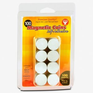 "Hygloss Magnetic Coins, Self-Adhesive, 3/4"", 100 Pieces (HYX61400)"