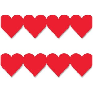 "Hygloss Red Hearts Border Strip, 3""x36"", 12/PK, Ast (HYX33625)"