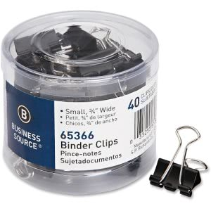 Business Source Small Steel Binder Clips, 40 Clips (BSN65366)