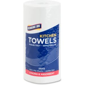 Genuine Joe Kitchen Towels, 2-Ply, White, 12 Rolls (GJO25012)