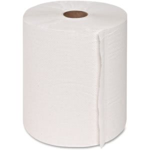 Genuine Joe Hardwound Roll Paper Towels, White, 6 Rolls (GJO22900)