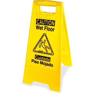 Genuine Joe Universal Graphic Wet Floor Sign, Yellow, 6 Signs (GJO85117CT)
