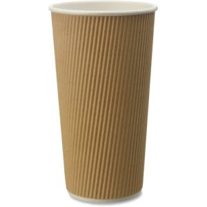Genuine Joe Ripple Hot Cups, 20oz, Brown, 500 Cups (GJO11261CT)