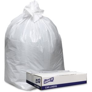 "Genuine Joe Trash Can Liners, 38"" x 58"", White, 0.9 mil, 100 Liners (GJO3858W)"