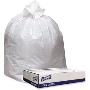 "Genuine Joe Trash Can Liners, 40"" x 46"", White, 0.9 mil, 100 Liners (GJO4046W)"